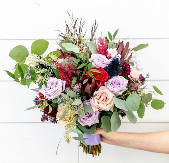 Lavender & burgundy bouquet