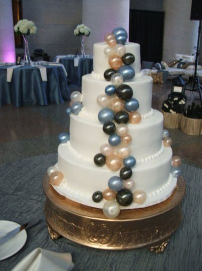 A gorgeous buttercream cake with handmade edible gelatin *bubbles*.  Venue - the Ohio Statehouse
