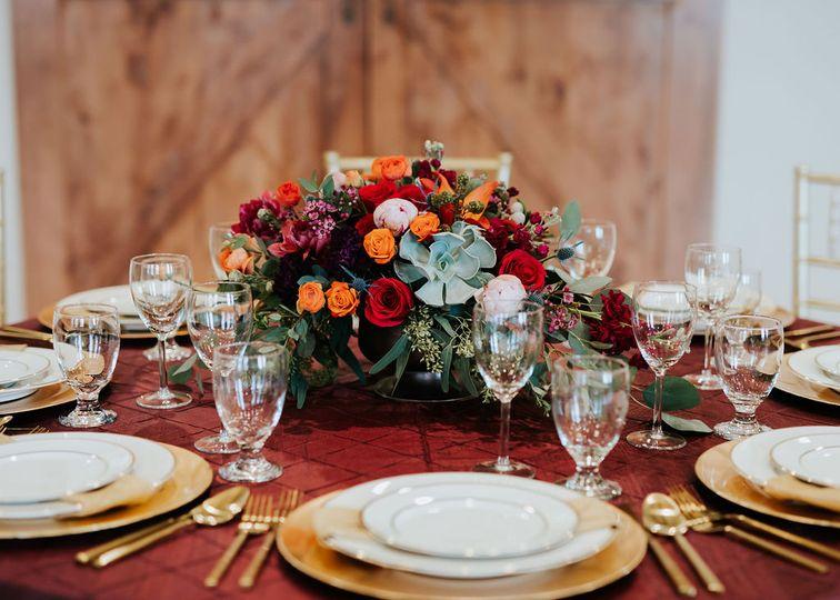 Table set up in Garden Room