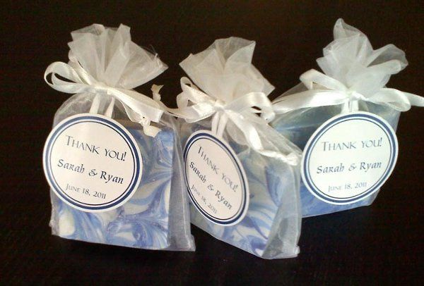 "Soap Favor in Organza Bag with custom 2"" circle tag"