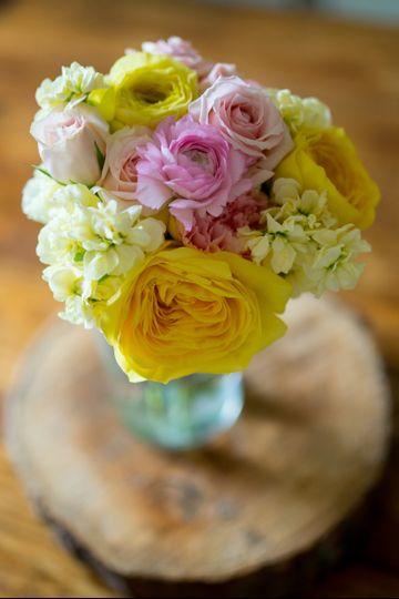 Cabbage roses, ranunculus, spray roses, & stock bridesmaids bouquet