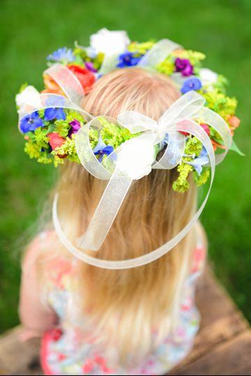 Delphinium, stock, bluperum, solidago, ranunculus, alstromeria, lisianthus flower girl halo