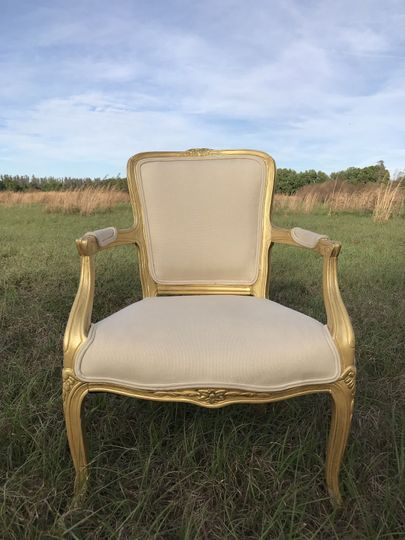 Vintage linen chairs with gold trim