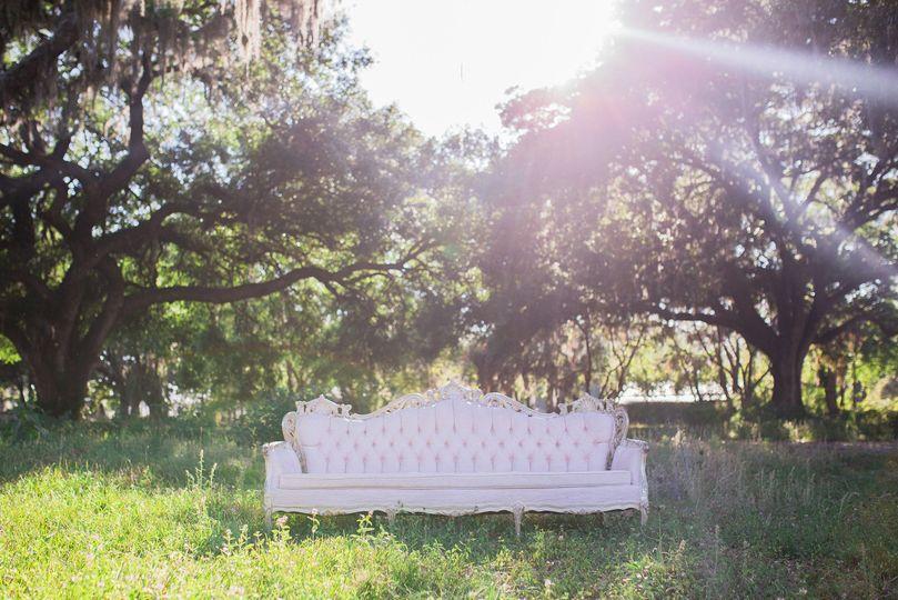 Vintage light pink Victorian sofa