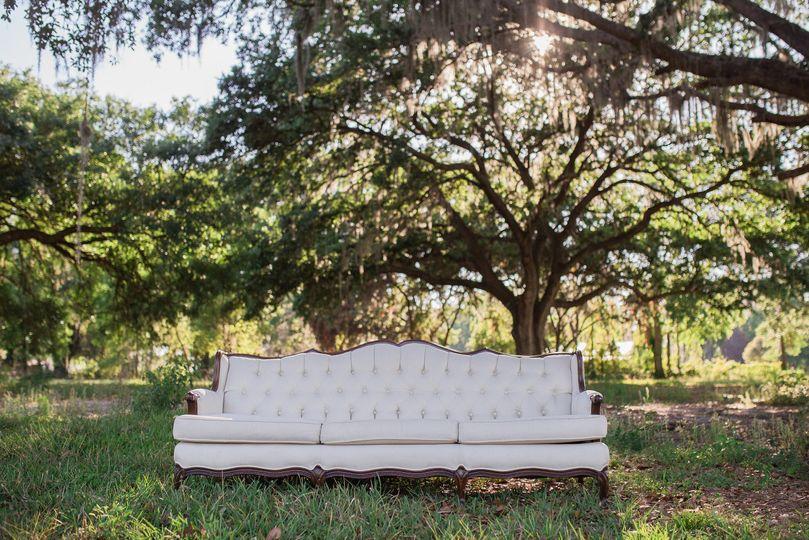 Vintage linen tufted sofa