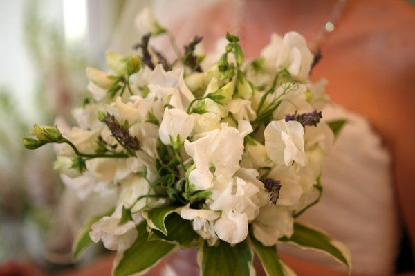 A beautiful bouquet of white sweet pea and hosta leaves