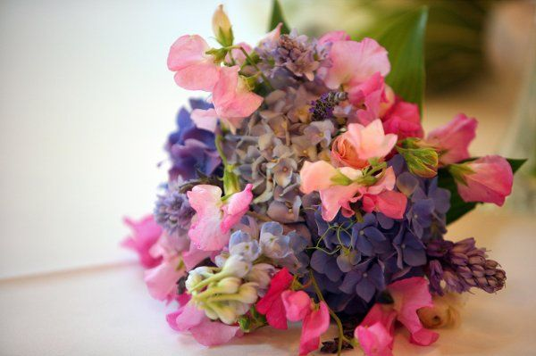 Pink sweet pea, hydrangea, scabiosa, lavender