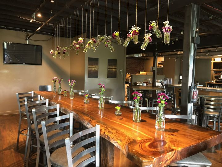Wooden table and floral decor