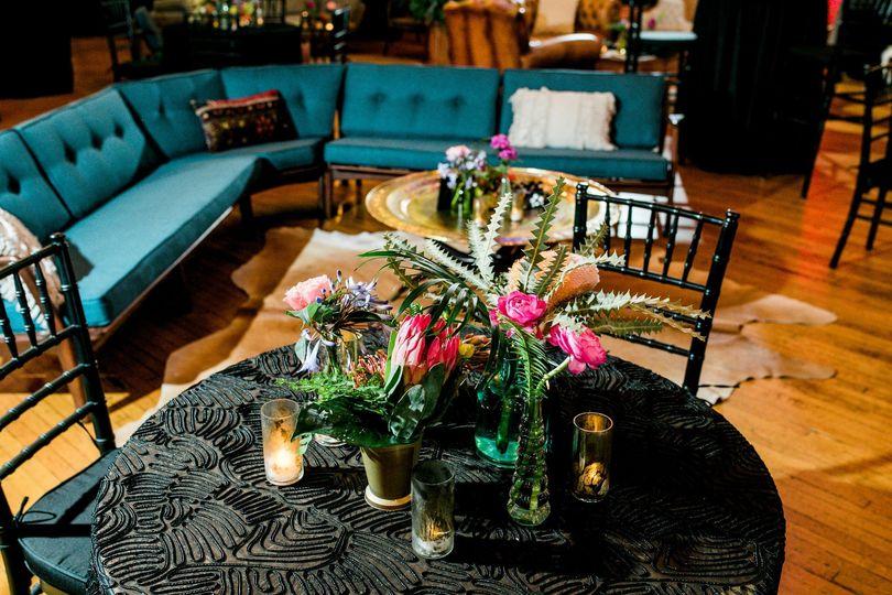 Furniture in the ballroom