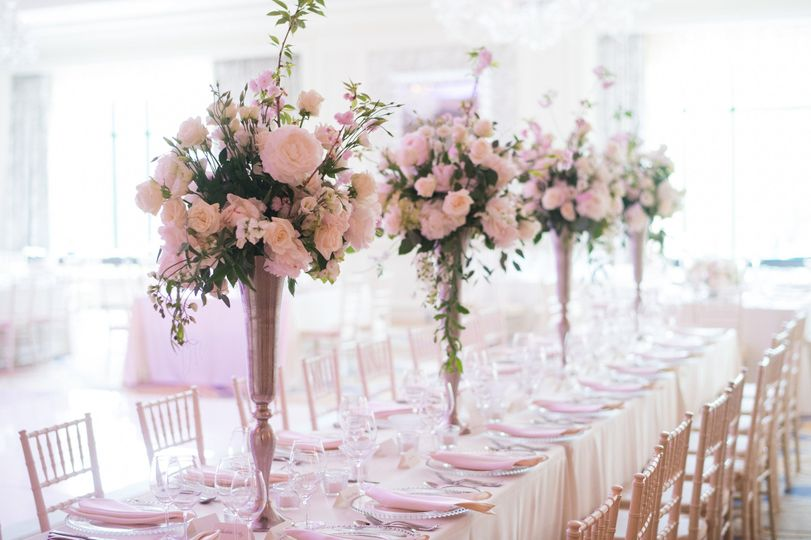 Long table with centerpieces