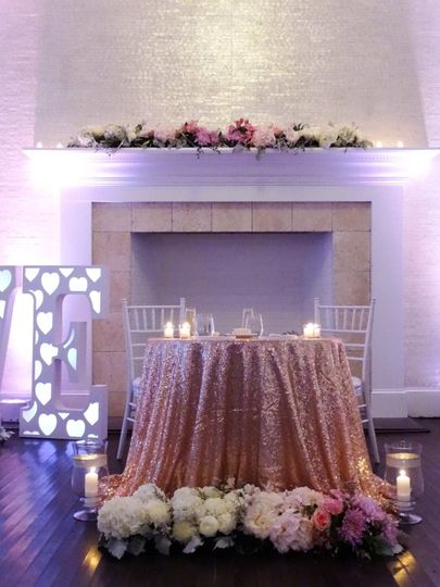Shimmery sweetheart table