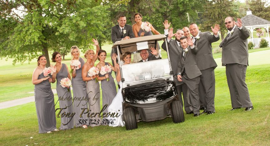 Bridal Party with Golf Cart