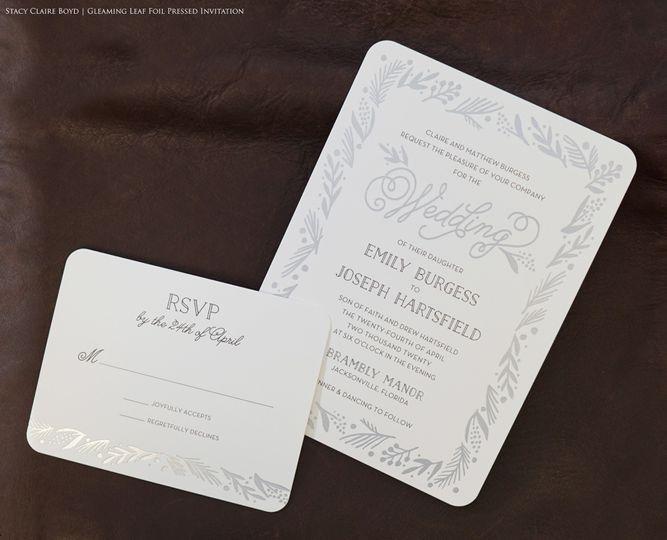 Silver foil press invitation
