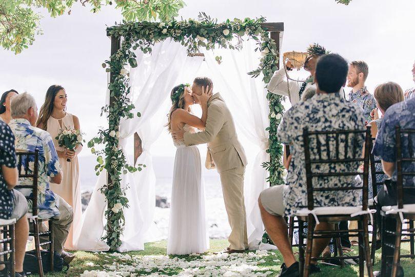 Ceremonial wedding kiss