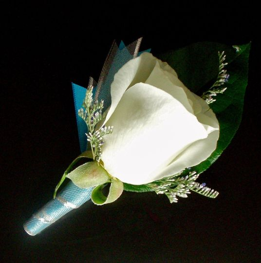 turquoise and silver boutonniere 4