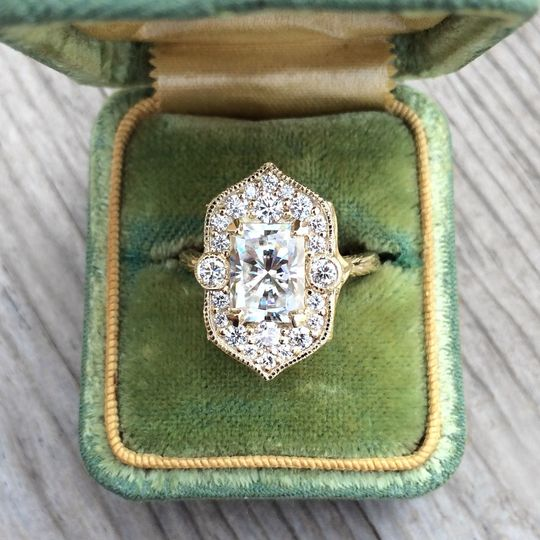 The Estella, a forever one radiant cut moissanite