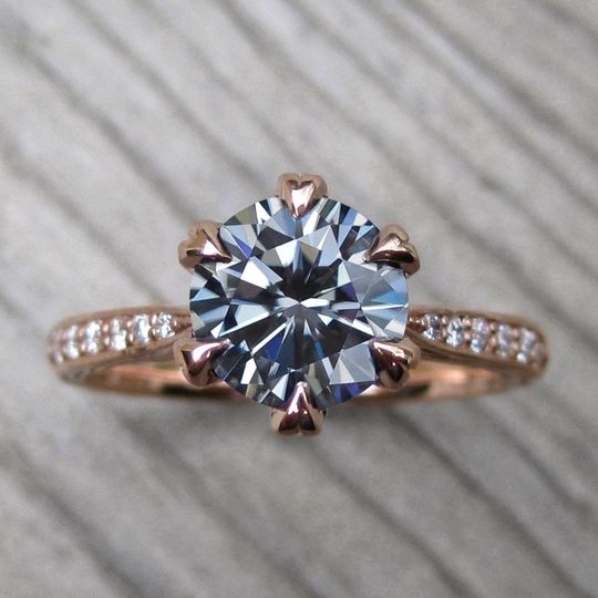 The Camille, an iconic grey moissanite center and diamond accents