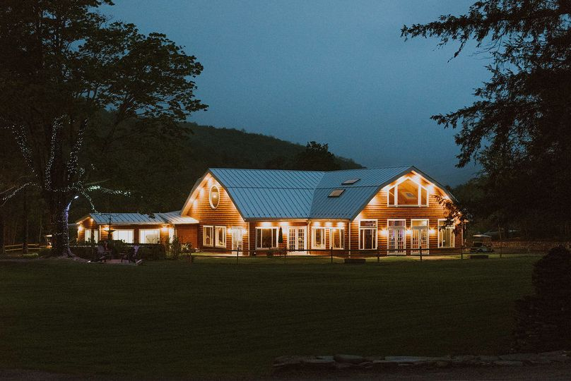 Moondance pavilion at night