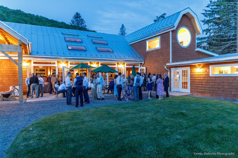 An evening cocktail party begins outside the pavilion.