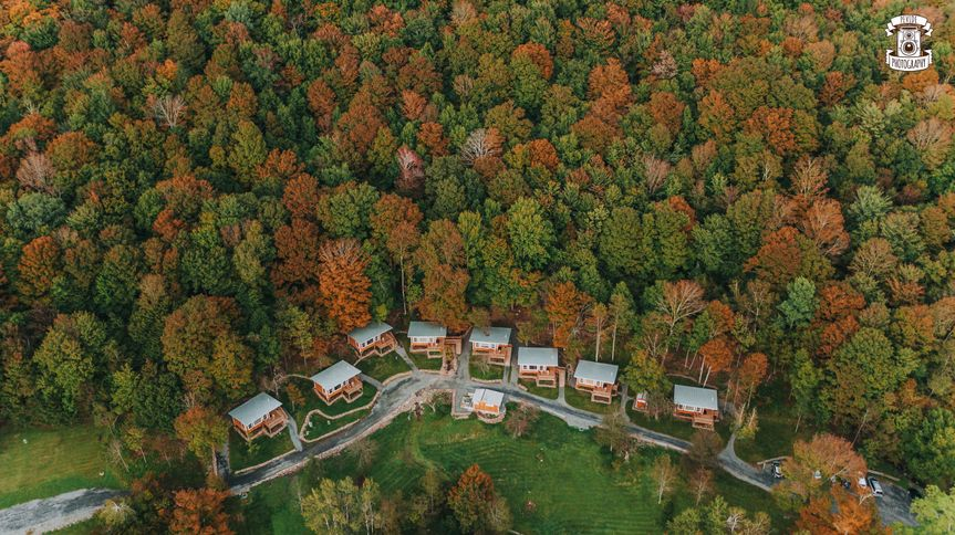 Breathtaking aerial view of our mountain sky cottages at full moon resort! Photo by pevide...