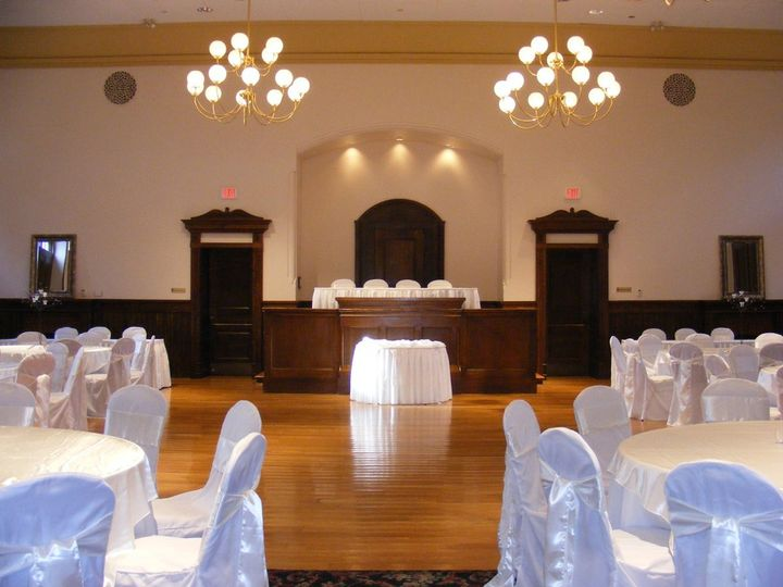 Ballroom to judges bench, wedding reception, head table on riser