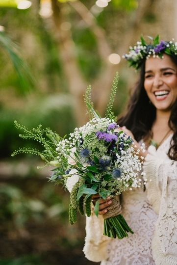 Smiling at Bouquet