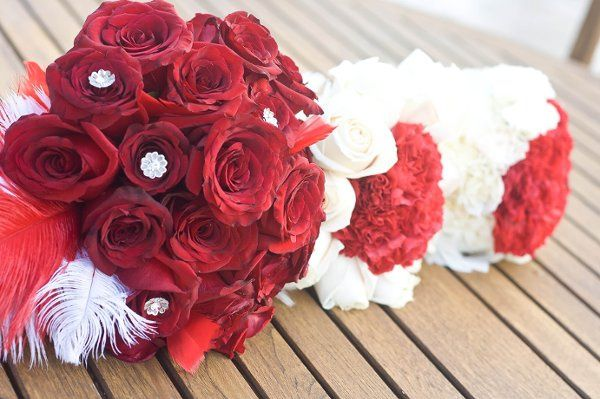 Red Hot Bridal and bridal party bouquets