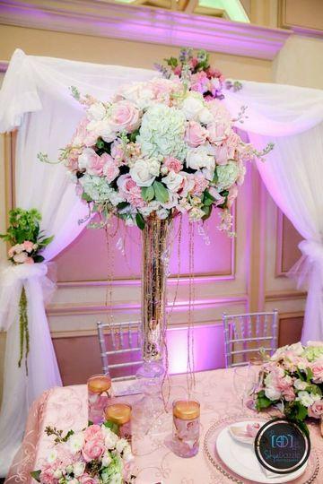 Raised floral centerpiece