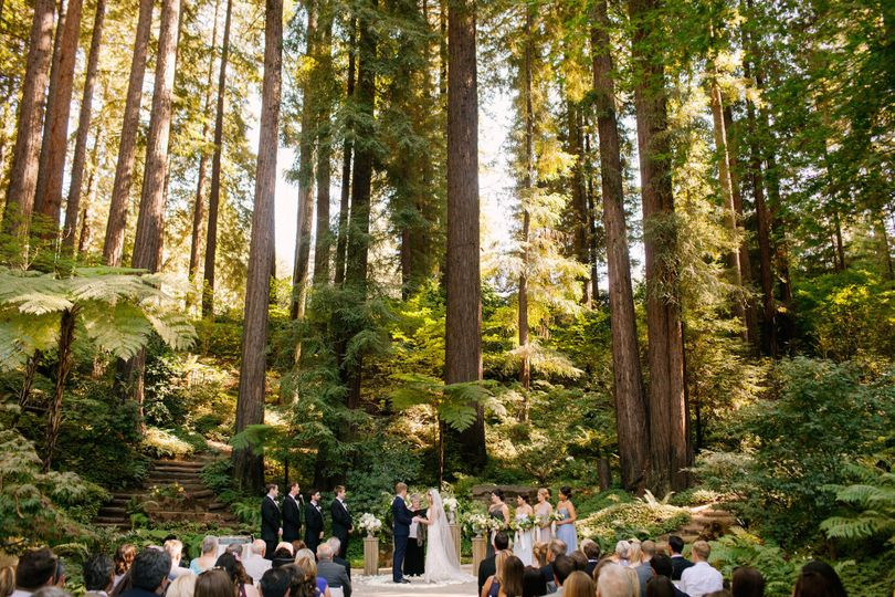 Ceremony in the Chapel facing the Redwood Trees! Photo: Ginny Silver