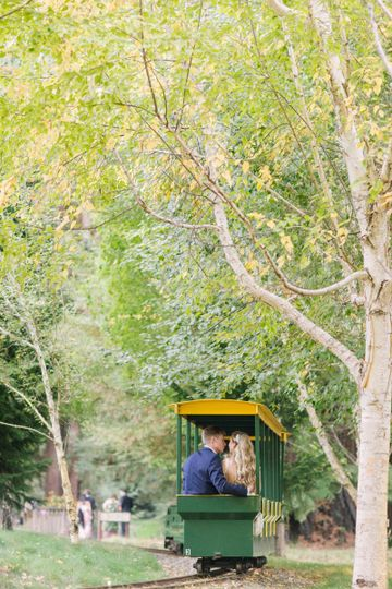 First Announcement being a Mr. & Mrs. on the Mini Train! Photo: Ginny Silver
