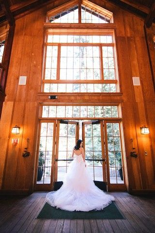 Bride leaving the barn doors