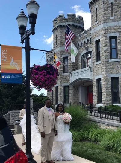 Newlyweds in front of the Amory