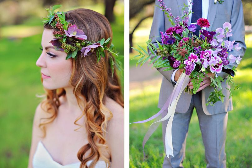 flower crown and bouquet by third bloom