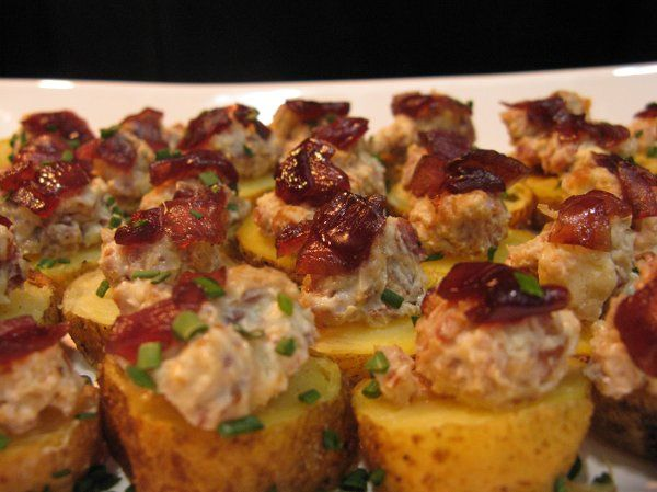 Stuffed New Potatoes with Blue Cheese, Bacon, and Red Onion Balsamic Relish.