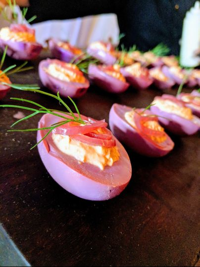 Beet Cured Deviled Eggs