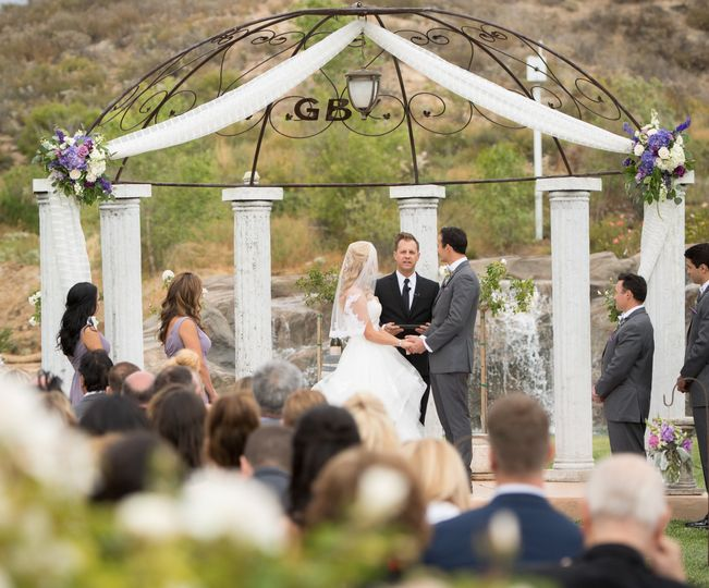 Waterfall backdrop ceremony
