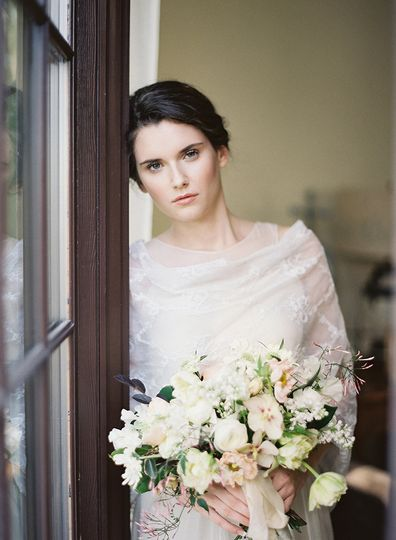 delicate lace wrap wedding