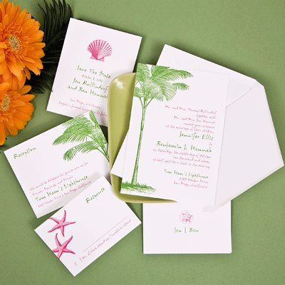 Green and pink art on invites