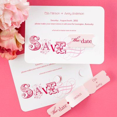 Pink wedding invites with tickets