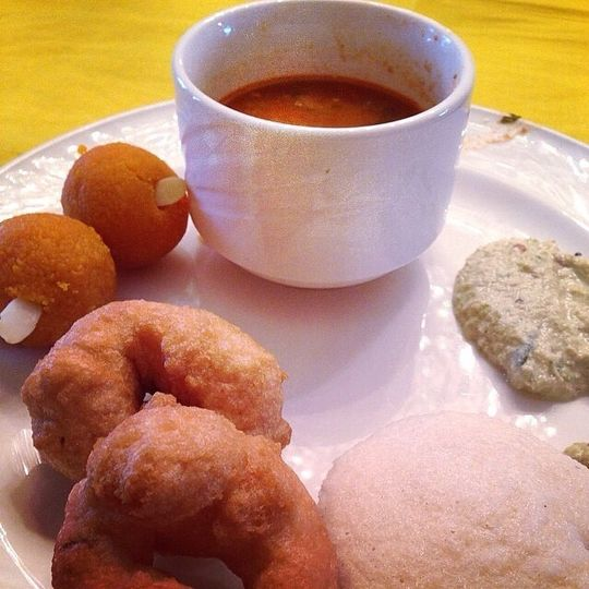 Breakfast - South Indian Food - Idli, Mendu Vada, Sambar, Chutney and Laddoo