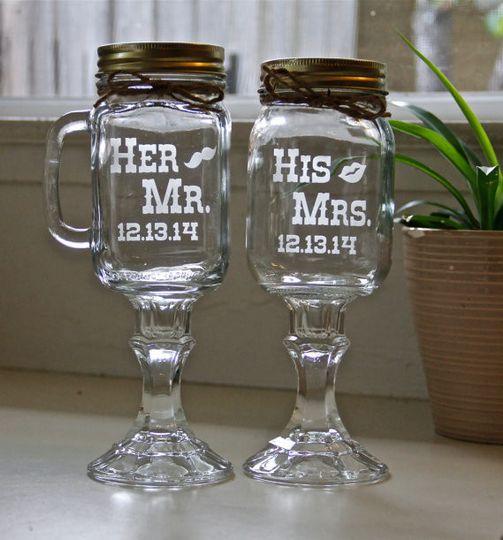 mason jar wine glasses persoanlized