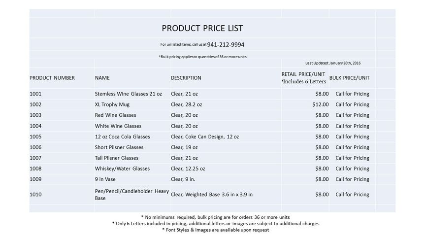 the glass for you flyerprice list