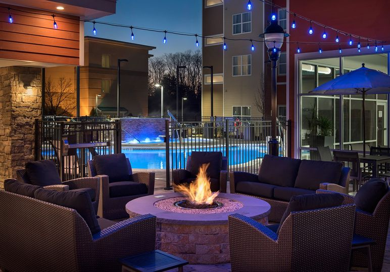 Enticing fire pit and lounge area
