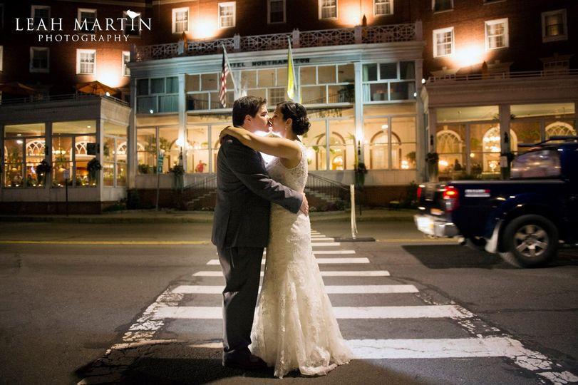Bride groom at crosswalk