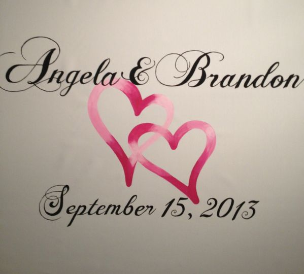 Romantic wedding font on this aisle runner