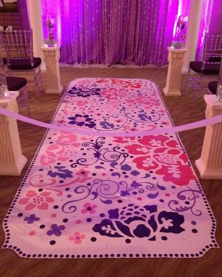 colorful and fun, hand painted aisle runner