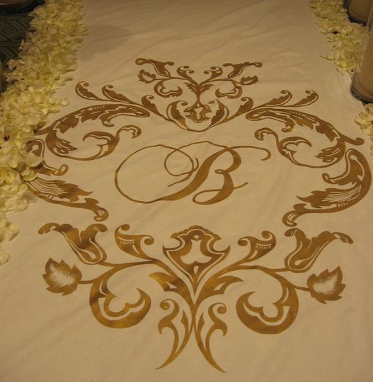 gold on cream, hand painted aisle runner
