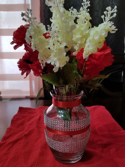 Floral centerpiece in a vase