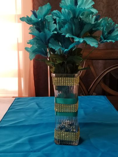 Blue floral arrangement