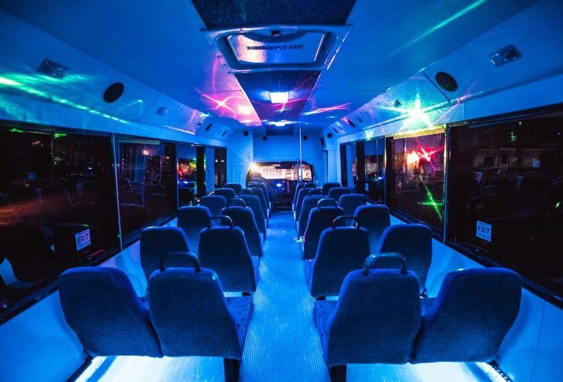 Wedding bus interior lights